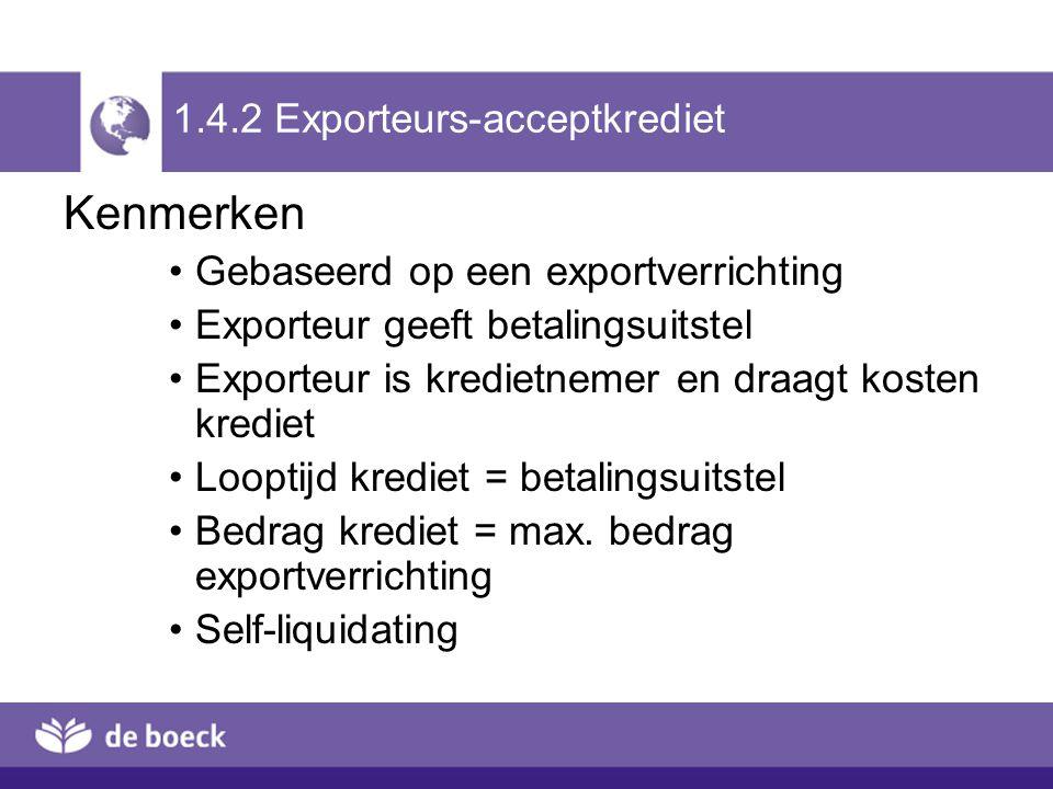 1.4.2 Exporteurs-acceptkrediet Kenmerken Gebaseerd op een exportverrichting Exporteur geeft betalingsuitstel Exporteur is kredietnemer en draagt koste