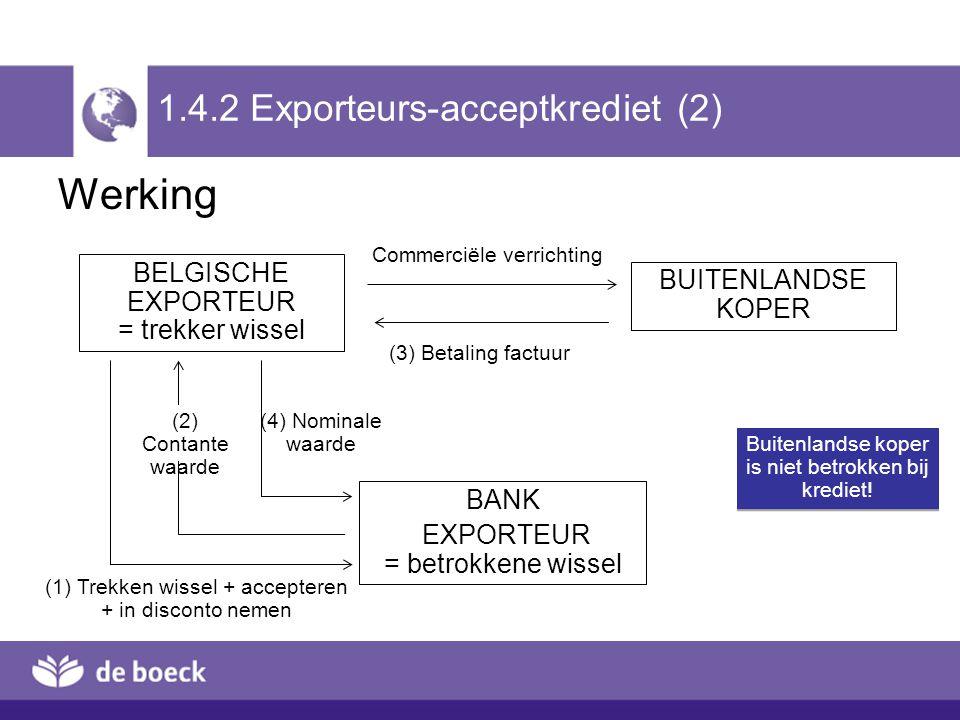 1.4.2 Exporteurs-acceptkrediet (2) Werking BELGISCHE EXPORTEUR = trekker wissel BUITENLANDSE KOPER BANK EXPORTEUR = betrokkene wissel Commerciële verr
