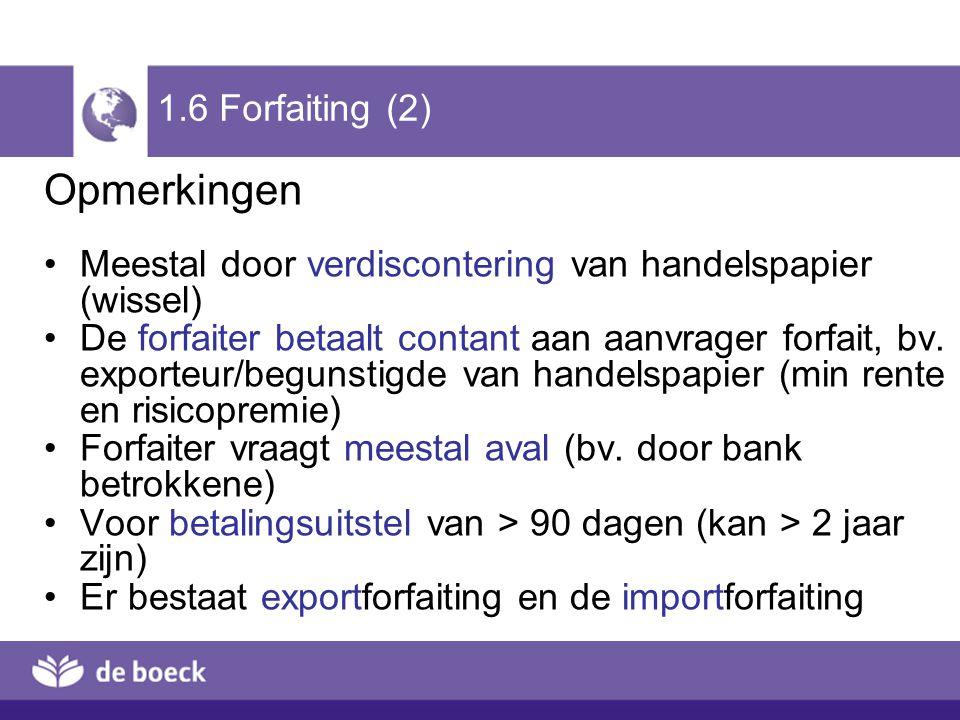 1.6 Forfaiting (2) Opmerkingen Meestal door verdiscontering van handelspapier (wissel) De forfaiter betaalt contant aan aanvrager forfait, bv. exporte