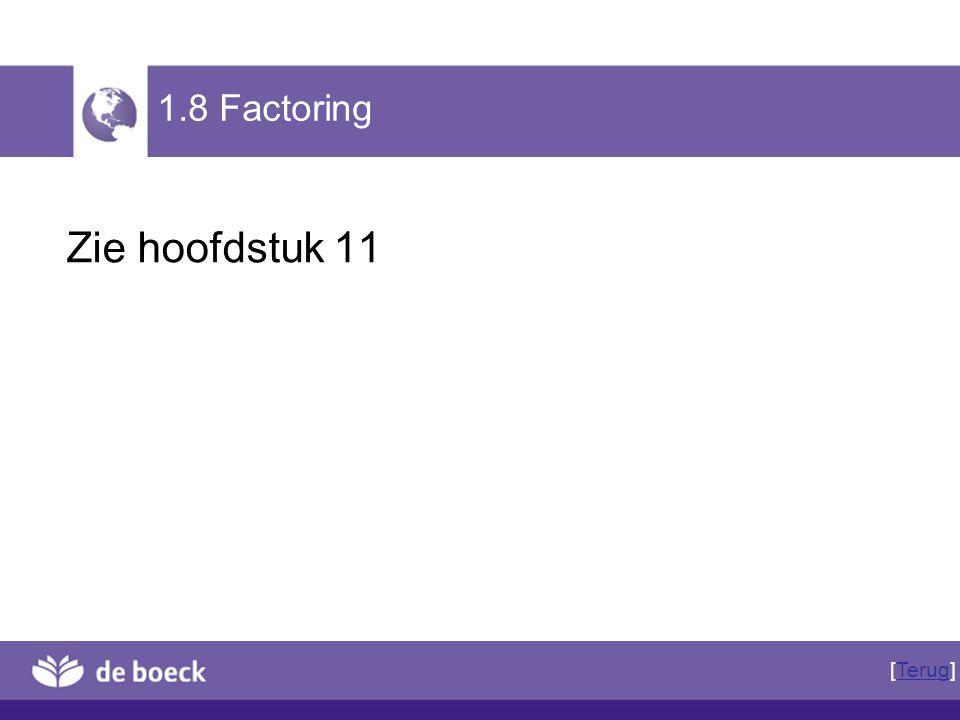 Zie hoofdstuk 11 1.8 Factoring [Terug]Terug
