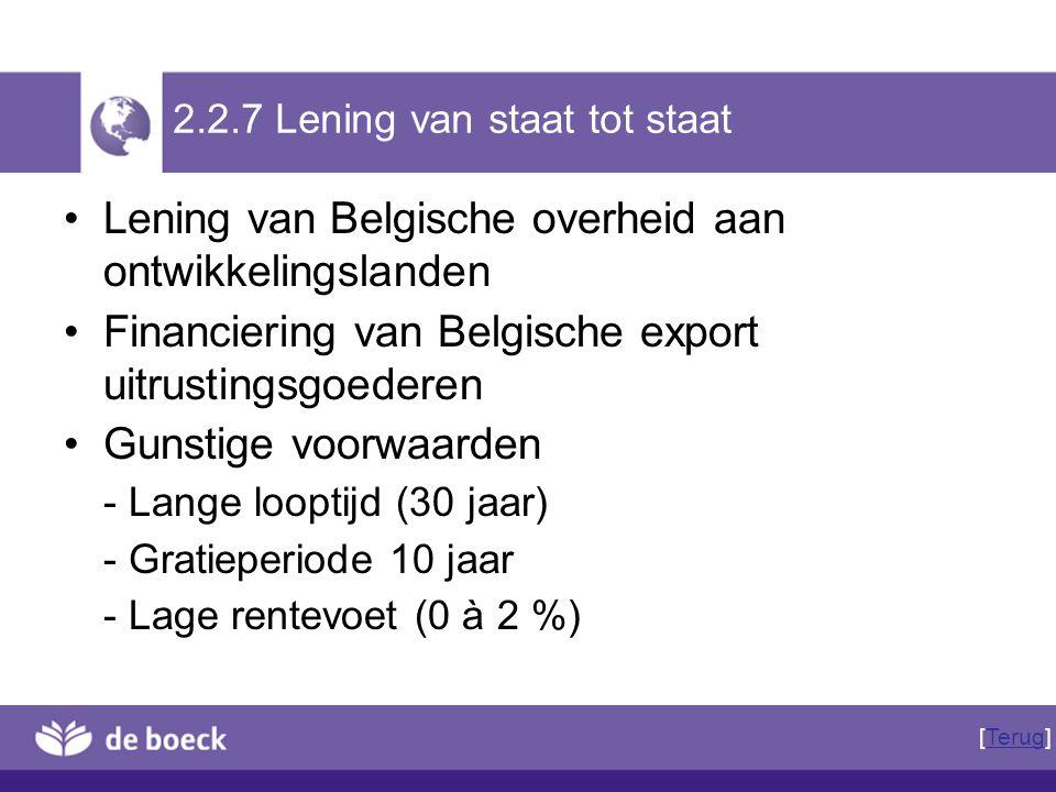 2.2.7 Lening van staat tot staat Lening van Belgische overheid aan ontwikkelingslanden Financiering van Belgische export uitrustingsgoederen Gunstige