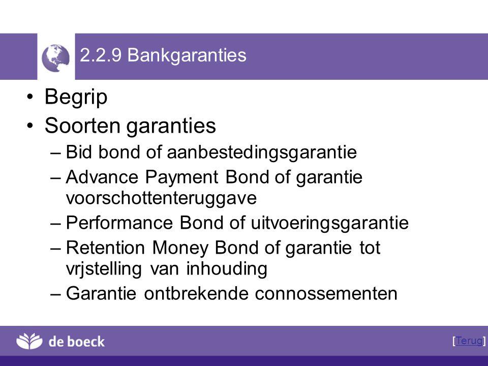 2.2.9 Bankgaranties Begrip Soorten garanties –Bid bond of aanbestedingsgarantie –Advance Payment Bond of garantie voorschottenteruggave –Performance B