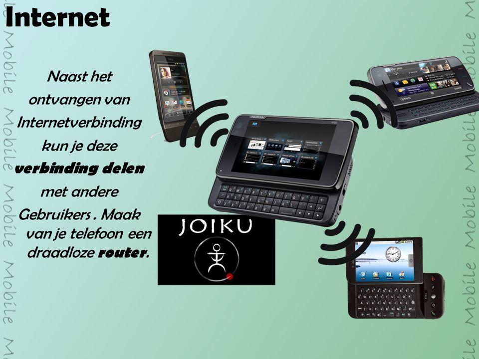 Internet Naast het ontvangen van Internetverbinding kun je deze verbinding delen met andere Gebruikers.
