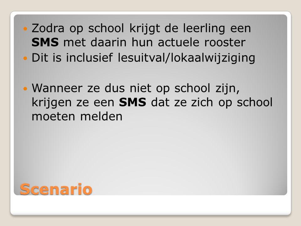Scenario Zodra op school krijgt de leerling een SMS met daarin hun actuele rooster Dit is inclusief lesuitval/lokaalwijziging Wanneer ze dus niet op school zijn, krijgen ze een SMS dat ze zich op school moeten melden