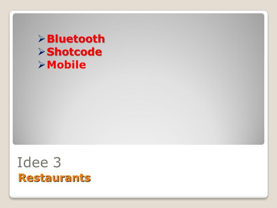 Idee 3 Restaurants Bluetooth  Bluetooth Shotcode  Shotcode  Mobile