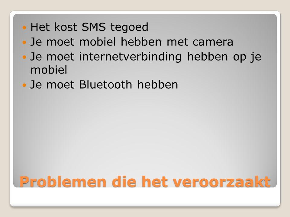 Problemen die het veroorzaakt Het kost SMS tegoed Je moet mobiel hebben met camera Je moet internetverbinding hebben op je mobiel Je moet Bluetooth hebben