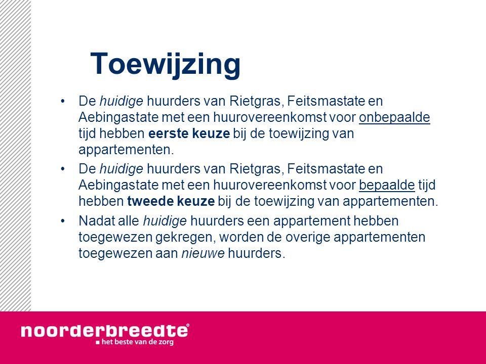 Toewijzing De huidige huurders van Rietgras, Feitsmastate en Aebingastate met een huurovereenkomst voor onbepaalde tijd hebben eerste keuze bij de toe