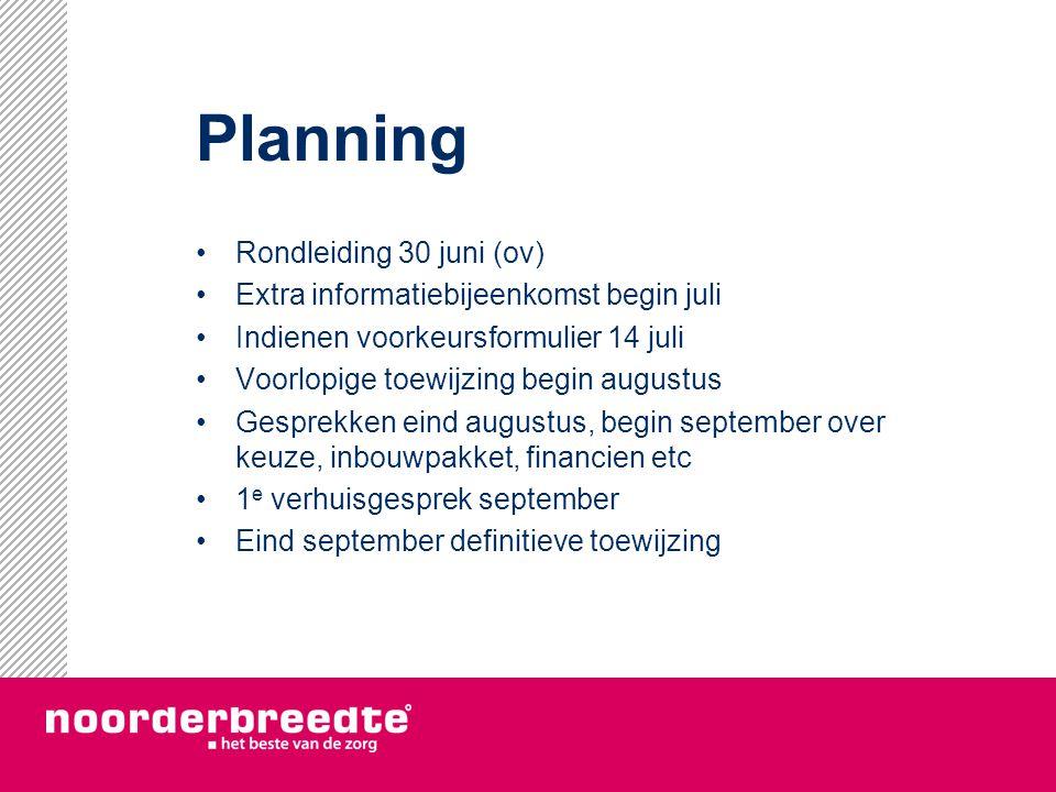 Planning Rondleiding 30 juni (ov) Extra informatiebijeenkomst begin juli Indienen voorkeursformulier 14 juli Voorlopige toewijzing begin augustus Gesp