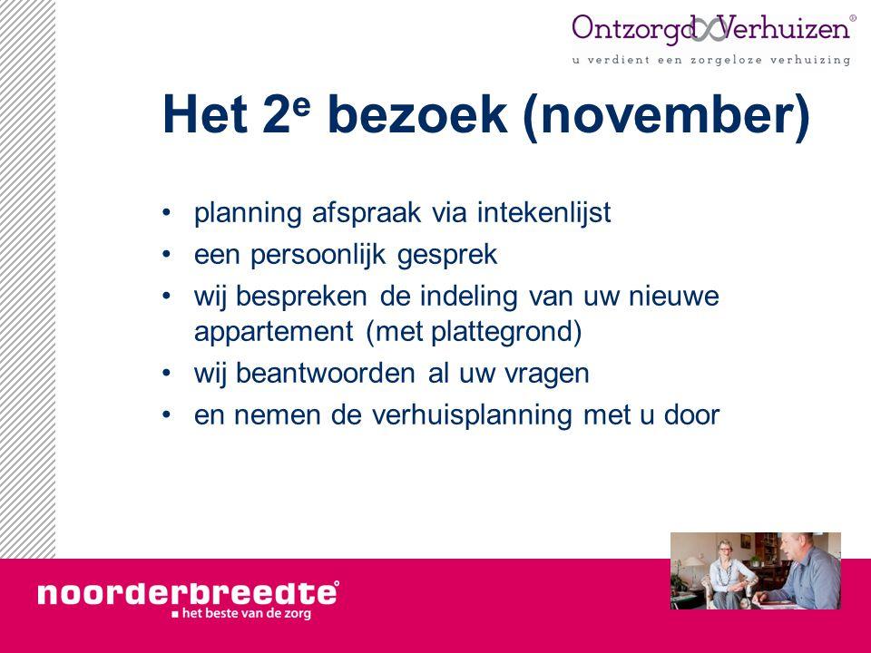 Het 2 e bezoek (november) planning afspraak via intekenlijst een persoonlijk gesprek wij bespreken de indeling van uw nieuwe appartement (met plattegr
