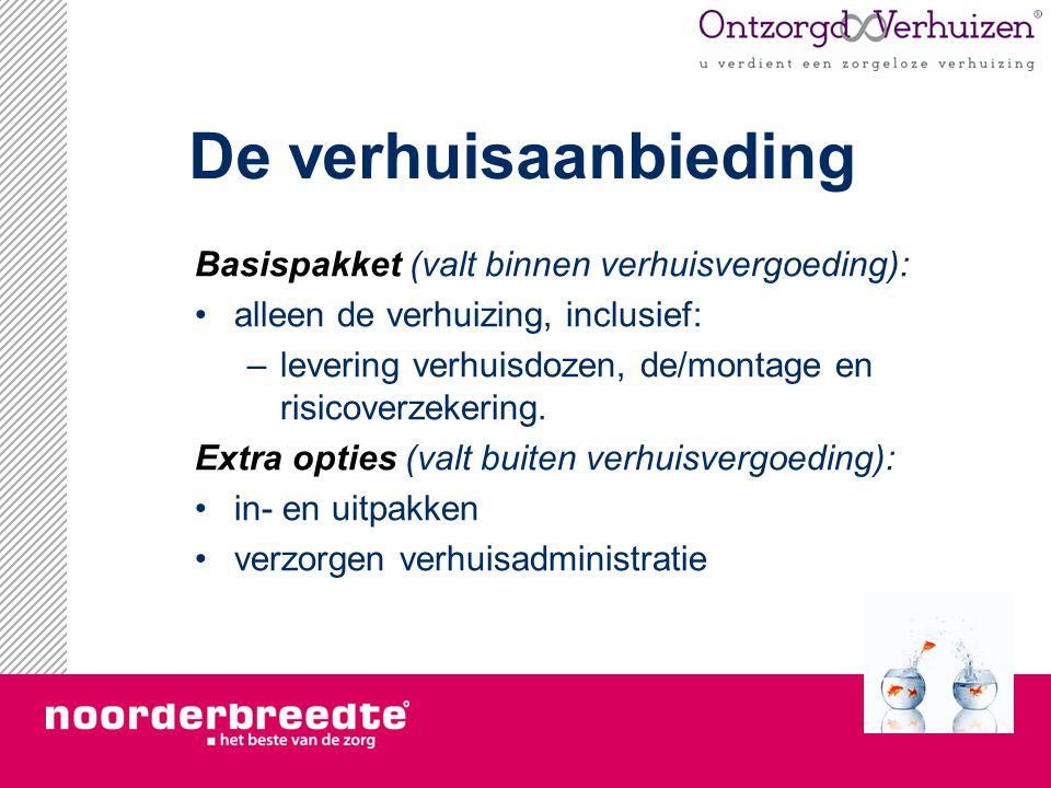 De verhuisaanbieding Basispakket (valt binnen verhuisvergoeding): alleen de verhuizing, inclusief: –levering verhuisdozen, de/montage en risicoverzeke