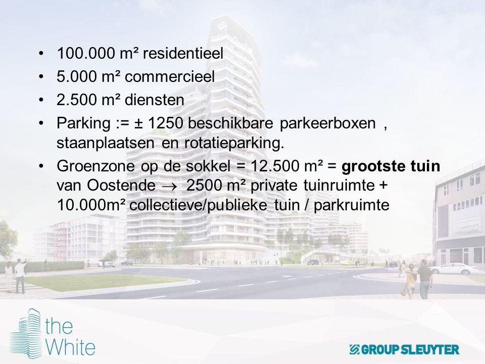 100.000 m² residentieel 5.000 m² commercieel 2.500 m² diensten Parking := ± 1250 beschikbare parkeerboxen, staanplaatsen en rotatieparking. Groenzone