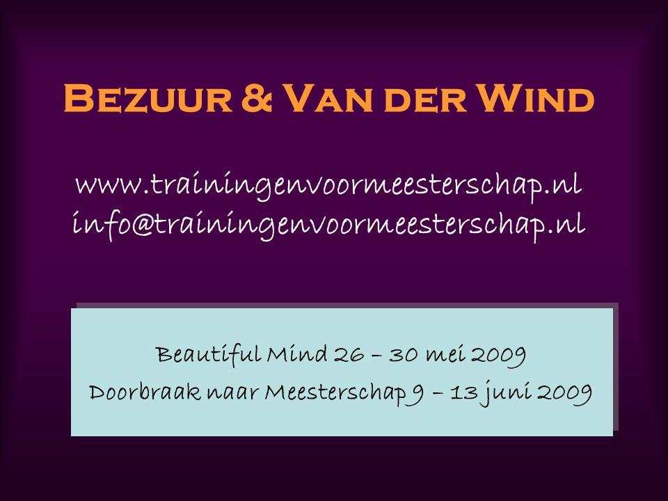 Bezuur & Van der Wind www.trainingenvoormeesterschap.nl info@trainingenvoormeesterschap.nl Beautiful Mind 26 – 30 mei 2009 Doorbraak naar Meesterschap