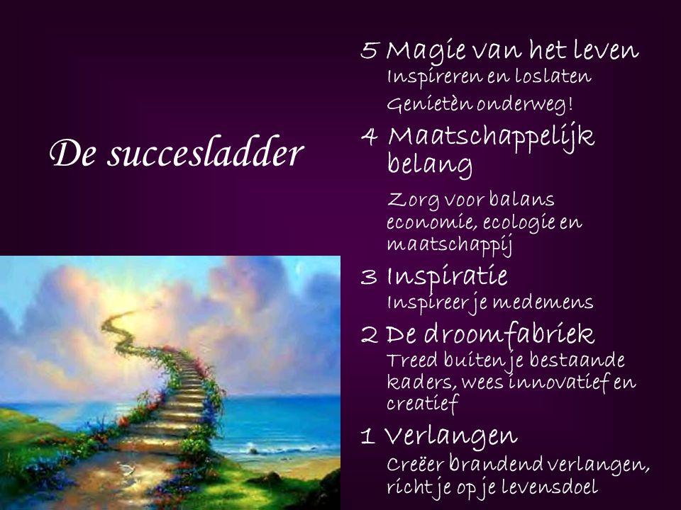 De succesladder 5 Magie van het leven Inspireren en loslaten Genietèn onderweg! 4 Maatschappelijk belang Zorg voor balans economie, ecologie en maatsc