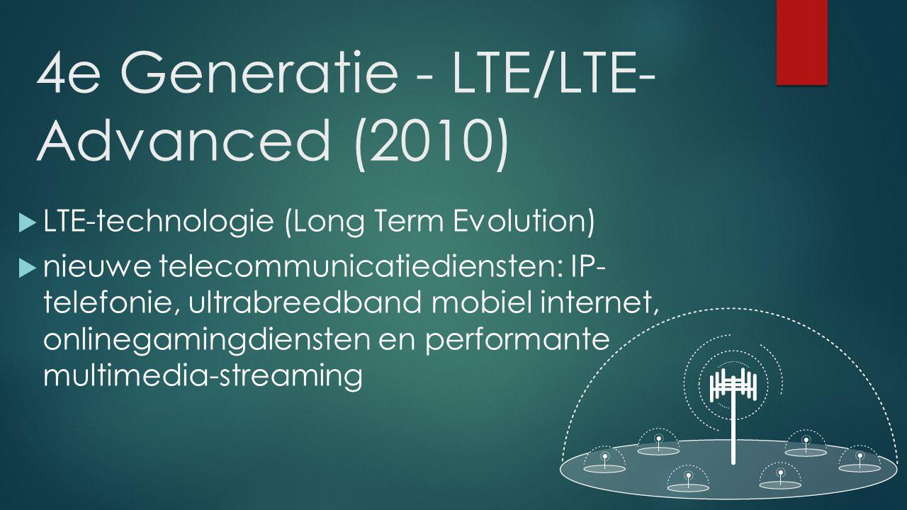G2 1,2Kbyte/s – 14Kbyte/s G3 48Kbyte/s – 0,9Mbyte/s G4 48Kbyte/s – 0,9Mbyte/s door LTE-Advanced  1Gbyte/s Transmissiesnelheid