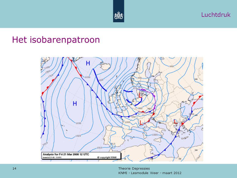 KNMI - Lesmodule Weer - maart 2012 Theorie Depressies 14 Het isobarenpatroon Luchtdruk