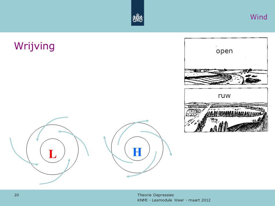 KNMI - Lesmodule Weer - maart 2012 Theorie Depressies 20 Wrijving L H open ruw Wind