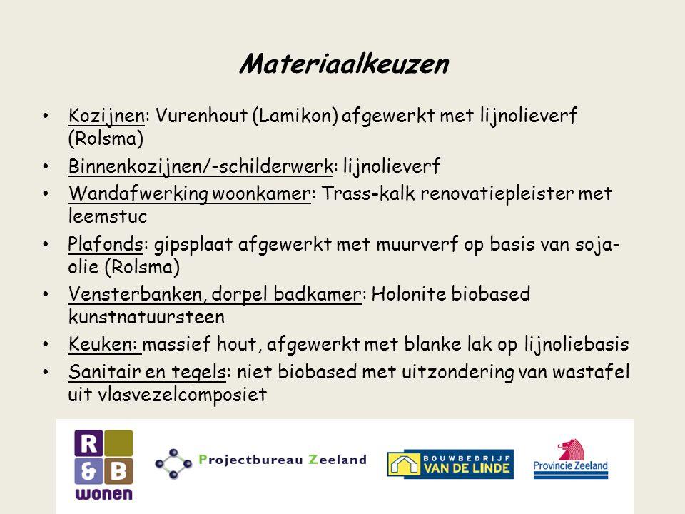 Materiaalkeuzen Kozijnen: Vurenhout (Lamikon) afgewerkt met lijnolieverf (Rolsma) Binnenkozijnen/-schilderwerk: lijnolieverf Wandafwerking woonkamer: