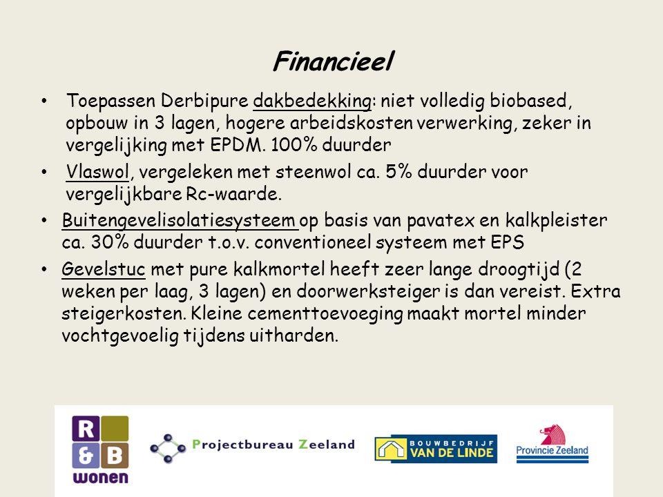 Financieel Toepassen Derbipure dakbedekking: niet volledig biobased, opbouw in 3 lagen, hogere arbeidskosten verwerking, zeker in vergelijking met EPD
