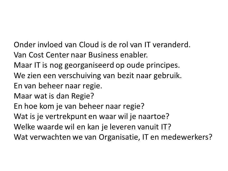 Onder invloed van Cloud is de rol van IT veranderd. Van Cost Center naar Business enabler. Maar IT is nog georganiseerd op oude principes. We zien een