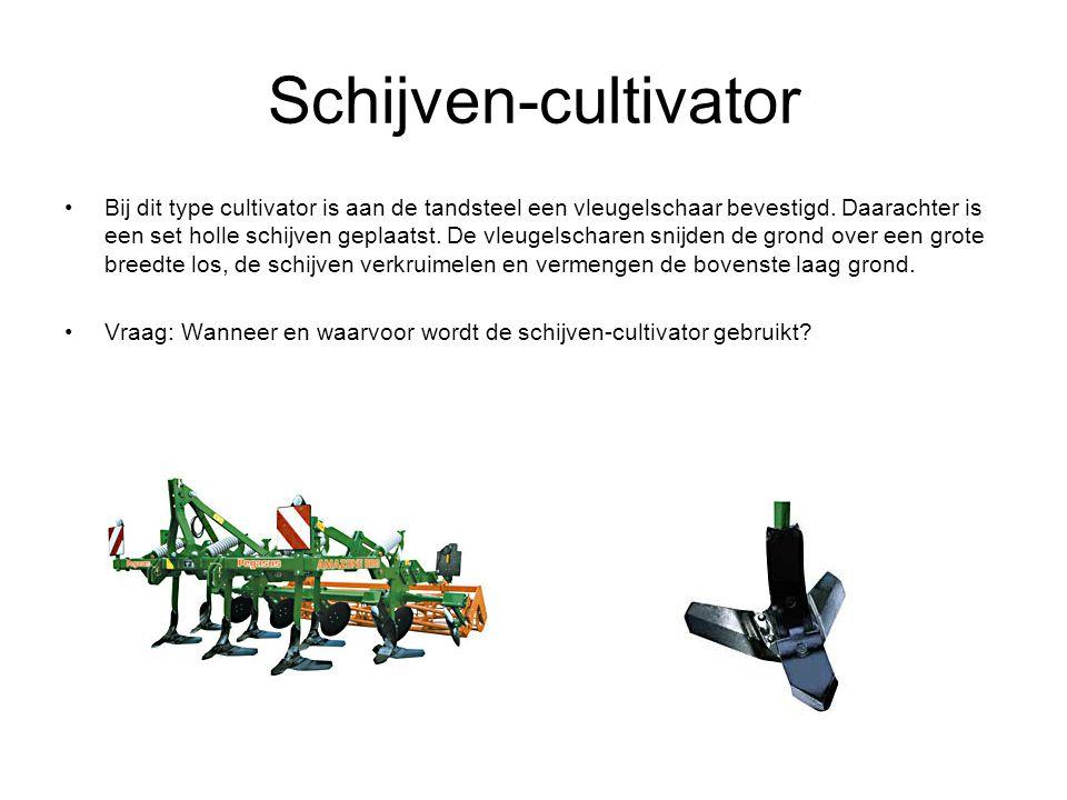 Schijven-cultivator Bij dit type cultivator is aan de tandsteel een vleugelschaar bevestigd.