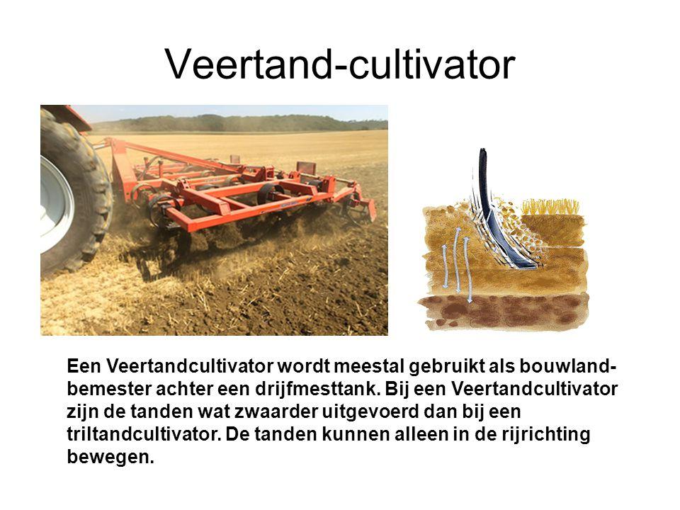 Veertand-cultivator Een Veertandcultivator wordt meestal gebruikt als bouwland- bemester achter een drijfmesttank.
