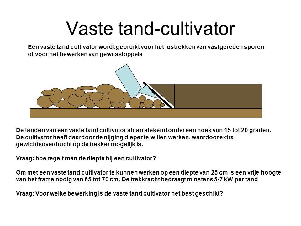 Vaste tand-cultivator Een vaste tand cultivator wordt gebruikt voor het lostrekken van vastgereden sporen of voor het bewerken van gewasstoppels De tanden van een vaste tand cultivator staan stekend onder een hoek van 15 tot 20 graden.