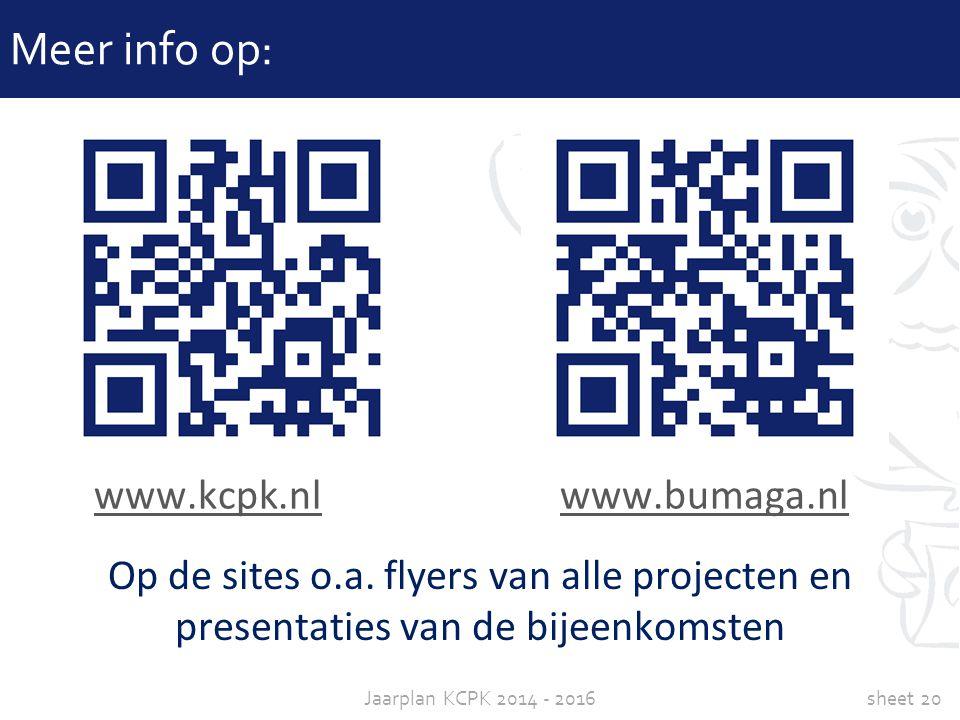 sheet 20Jaarplan KCPK 2014 - 2016 Meer info op: www.kcpk.nlwww.kcpk.nl www.bumaga.nlwww.bumaga.nl Op de sites o.a. flyers van alle projecten en presen