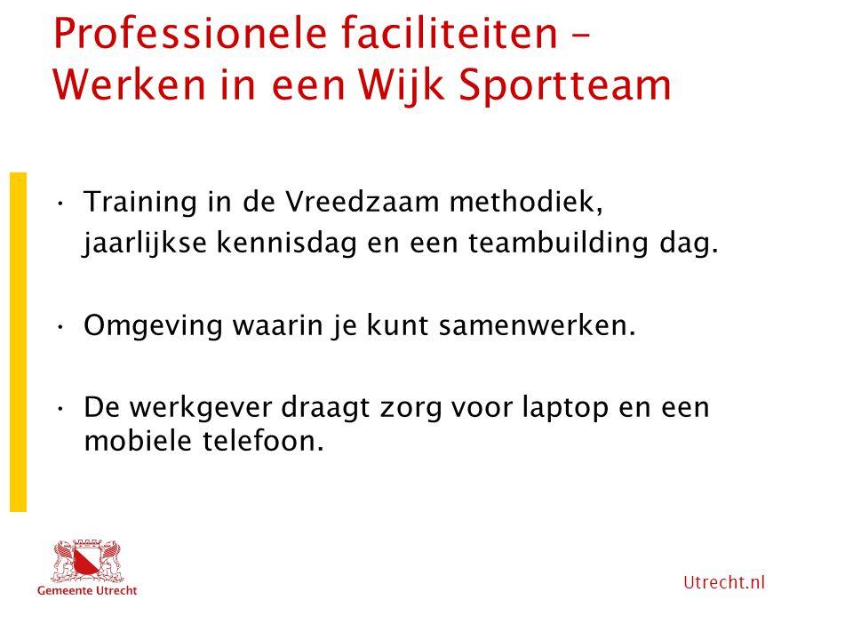 Utrecht.nl Professionele faciliteiten – Werken in een Wijk Sportteam Training in de Vreedzaam methodiek, jaarlijkse kennisdag en een teambuilding dag.