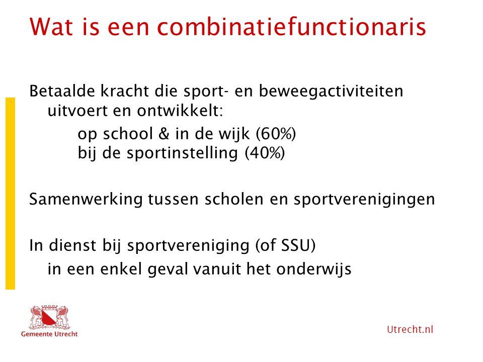 Utrecht.nl Wat is een combinatiefunctionaris Betaalde kracht die sport- en beweegactiviteiten uitvoert en ontwikkelt: op school & in de wijk (60%) bij