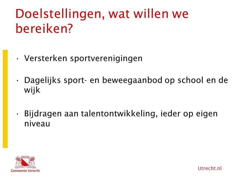 Utrecht.nl Doelstellingen (2) Toeleiding naar sportvereniging of structurele sportdeelname in de wijk Participatie bevorderen van jeugd Vreedzaam, Gewoon Opvoeden, ouderbetrokkenheid en gezonde leefstijl.