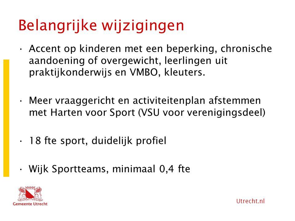 Utrecht.nl Belangrijke wijzigingen Accent op kinderen met een beperking, chronische aandoening of overgewicht, leerlingen uit praktijkonderwijs en VMB