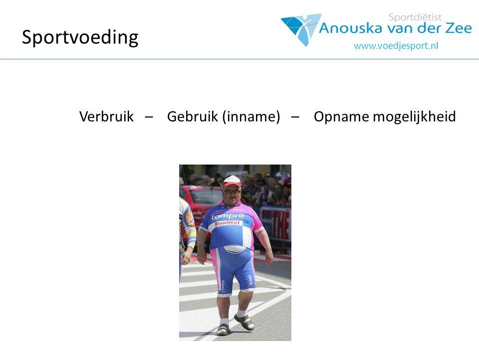Sportvoeding Verbruik – Gebruik (inname) – Opname mogelijkheid www.voedjesport.nl