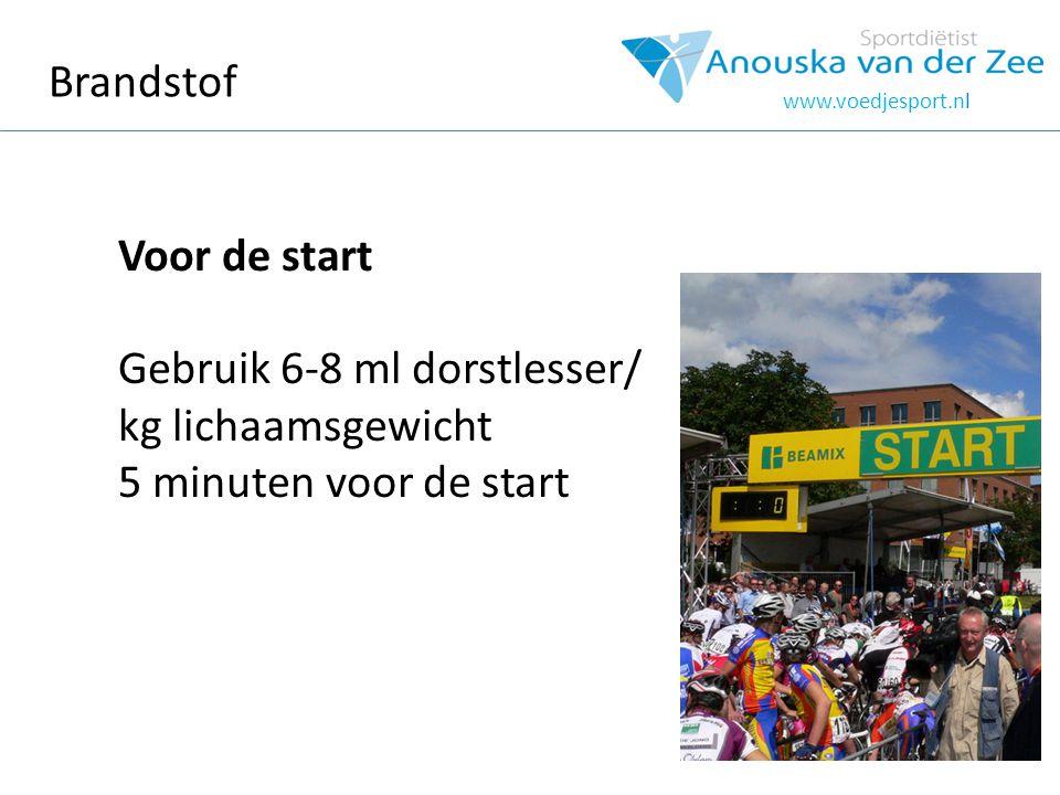 Brandstof www.voedjesport.nl Voor de start Gebruik 6-8 ml dorstlesser/ kg lichaamsgewicht 5 minuten voor de start