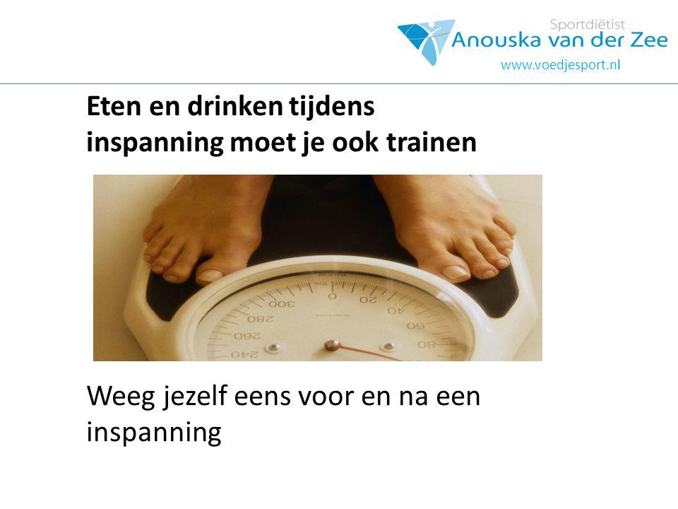 www.voedjesport.nl Eten en drinken tijdens inspanning moet je ook trainen Weeg jezelf eens voor en na een inspanning