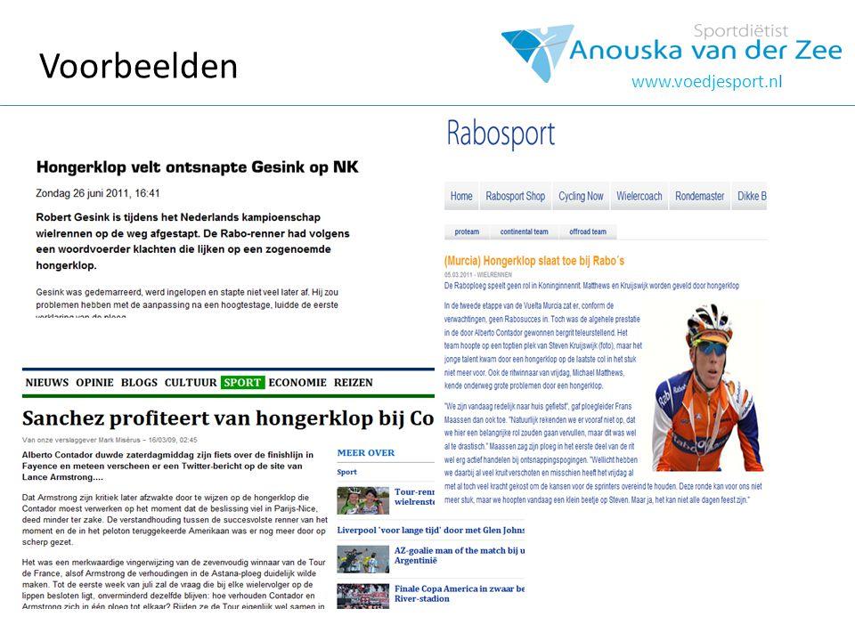 Voorbeelden www.voedjesport.nl