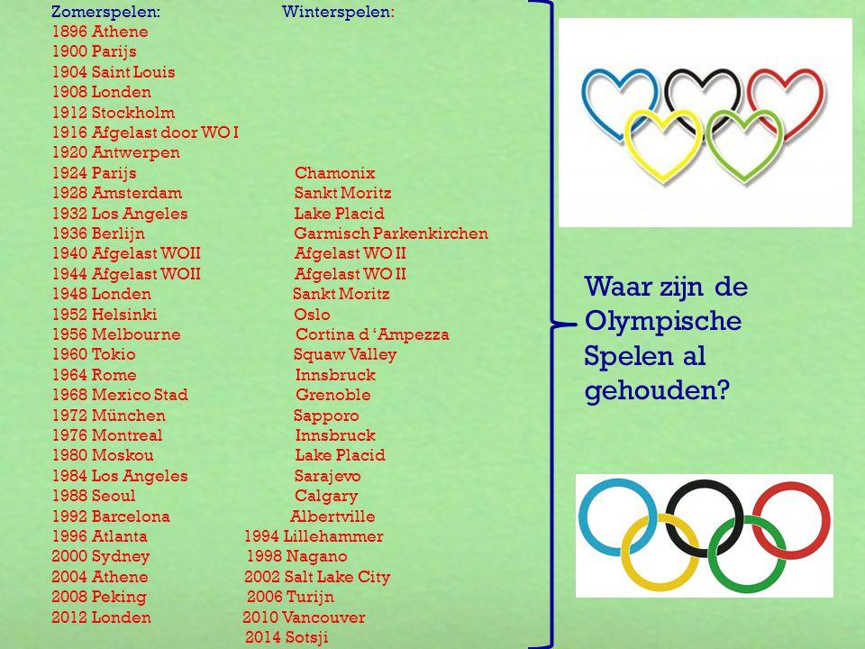 Zomerspelen: Winterspelen: 1896 Athene 1900 Parijs 1904 Saint Louis 1908 Londen 1912 Stockholm 1916 Afgelast door WO I 1920 Antwerpen 1924 Parijs Cham