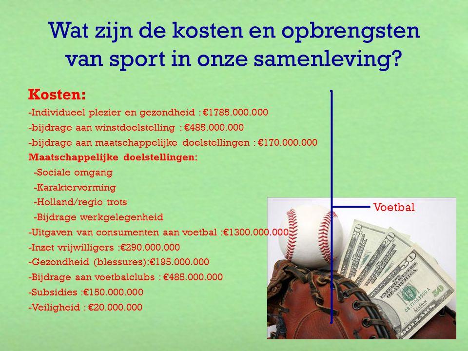 Wat zijn de kosten en opbrengsten van sport in onze samenleving? Kosten: -Individueel plezier en gezondheid : €1785.000.000 -bijdrage aan winstdoelste