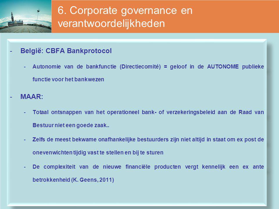 6. Corporate governance en verantwoordelijkheden -België: CBFA Bankprotocol -Autonomie van de bankfunctie (Directiecomité) = geloof in de AUTONOME pub