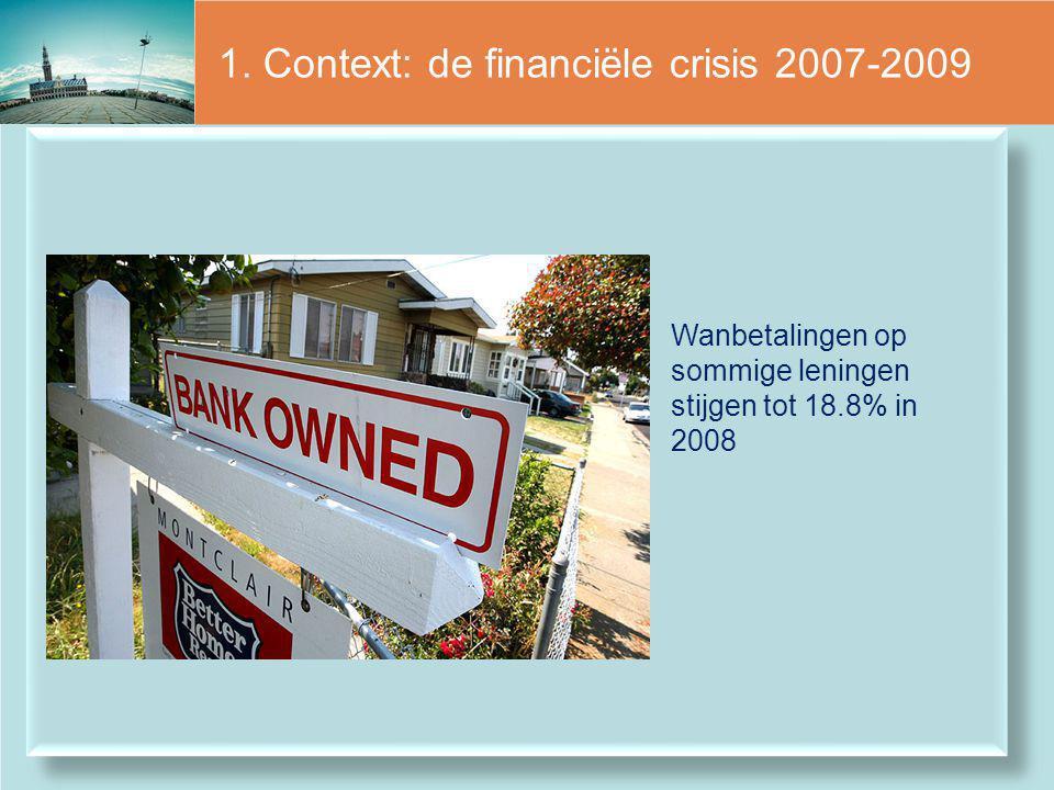 1. Context: de financiële crisis 2007-2009 Wanbetalingen op sommige leningen stijgen tot 18.8% in 2008