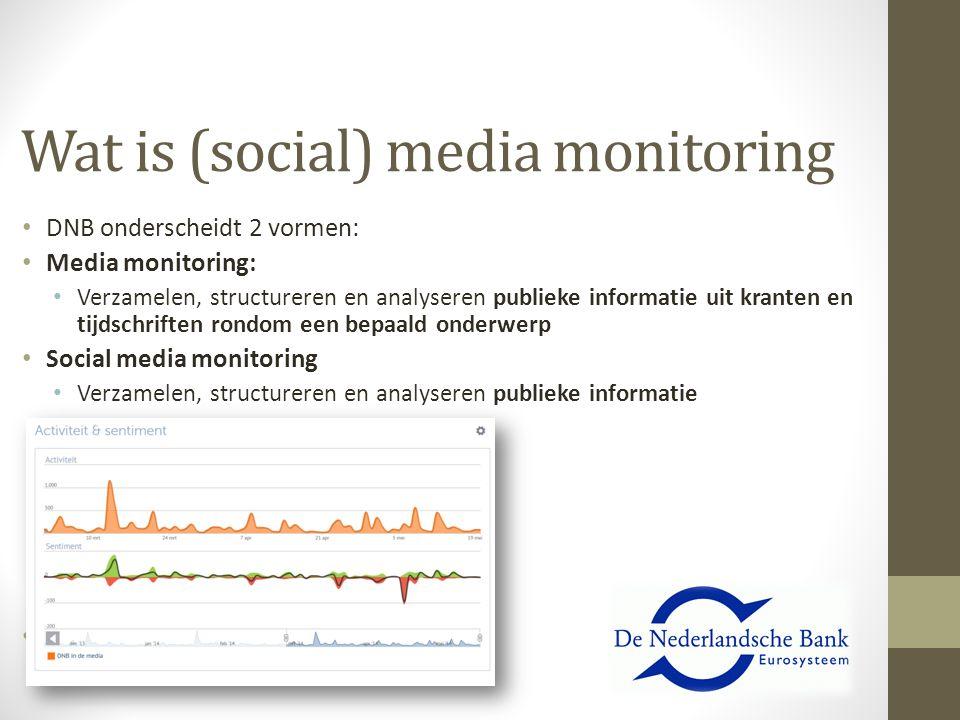 Wat is (social) media monitoring DNB onderscheidt 2 vormen: Media monitoring: Verzamelen, structureren en analyseren publieke informatie uit kranten e