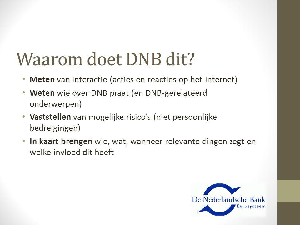 Waarom doet DNB dit? Meten van interactie (acties en reacties op het Internet) Weten wie over DNB praat (en DNB-gerelateerd onderwerpen) Vaststellen v