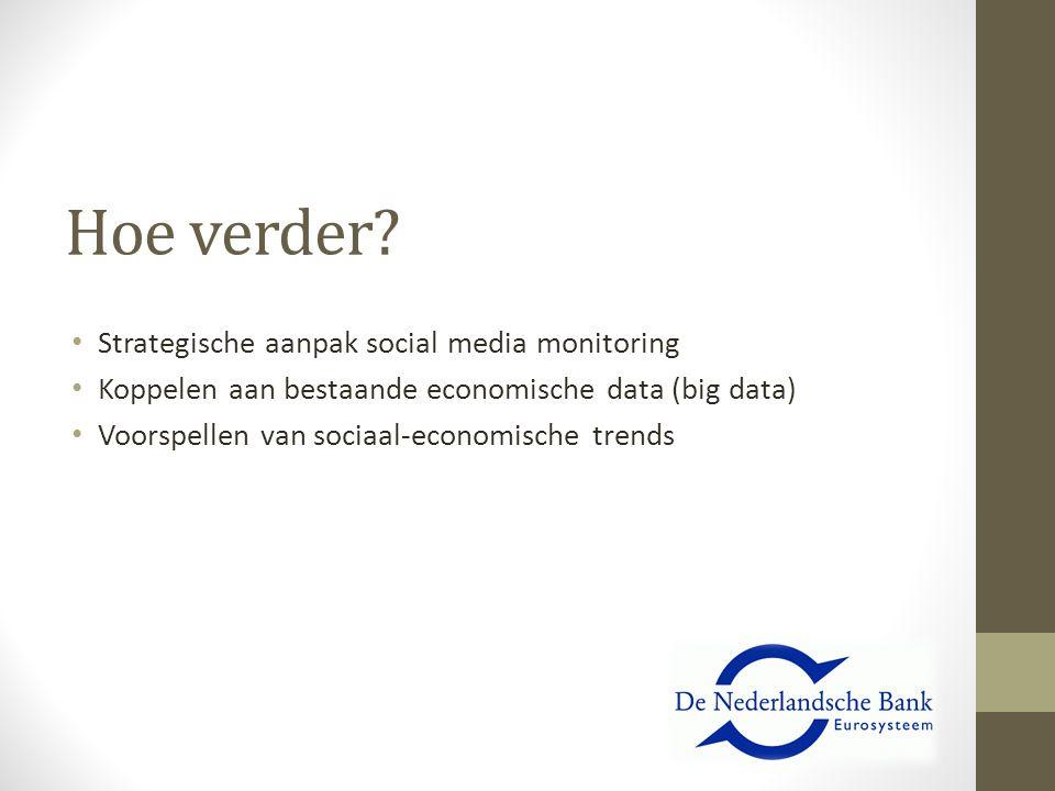 Hoe verder? Strategische aanpak social media monitoring Koppelen aan bestaande economische data (big data) Voorspellen van sociaal-economische trends