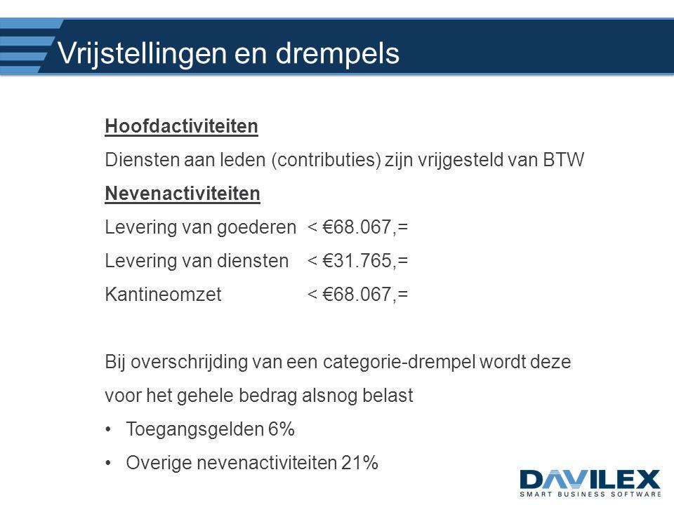 Vrijstellingen en drempels Hoofdactiviteiten Diensten aan leden (contributies) zijn vrijgesteld van BTW Nevenactiviteiten Levering van goederen< €68.0
