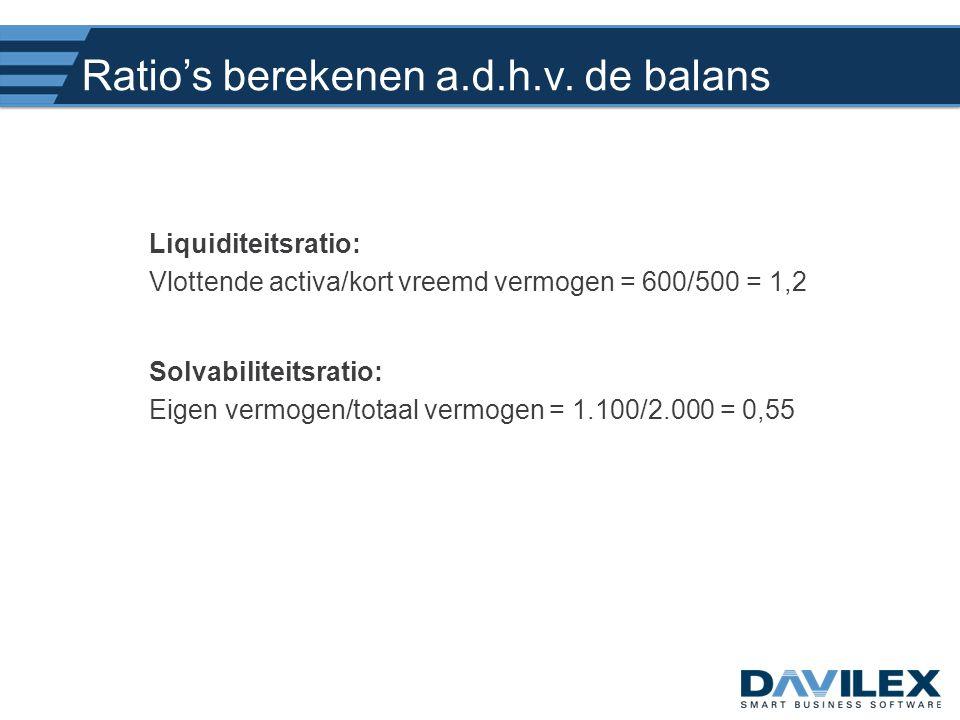 Ratio's berekenen a.d.h.v. de balans Liquiditeitsratio: Vlottende activa/kort vreemd vermogen = 600/500 = 1,2 Solvabiliteitsratio: Eigen vermogen/tota