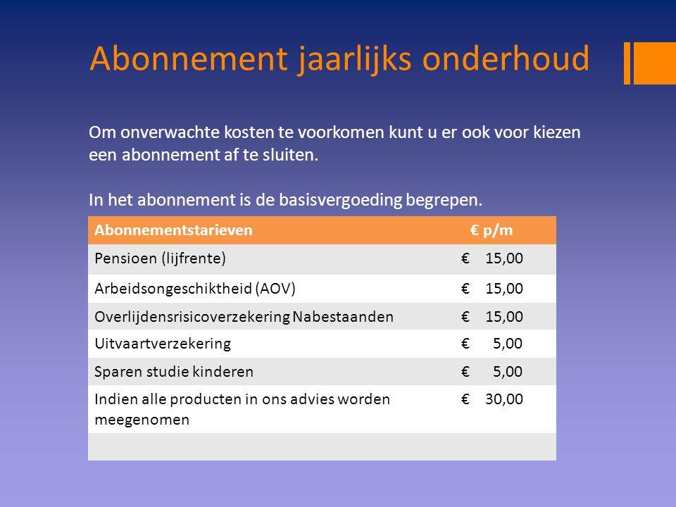 Abonnement jaarlijks onderhoud Abonnementstarieven€ p/m Pensioen (lijfrente)€ 15,00 Arbeidsongeschiktheid (AOV)€ 15,00 Overlijdensrisicoverzekering Na
