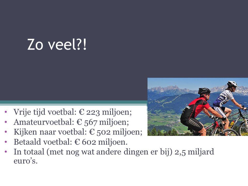 Zo veel?! Vrije tijd voetbal: € 223 miljoen; Amateurvoetbal: € 567 miljoen; Kijken naar voetbal: € 502 miljoen; Betaald voetbal: € 602 miljoen. In tot
