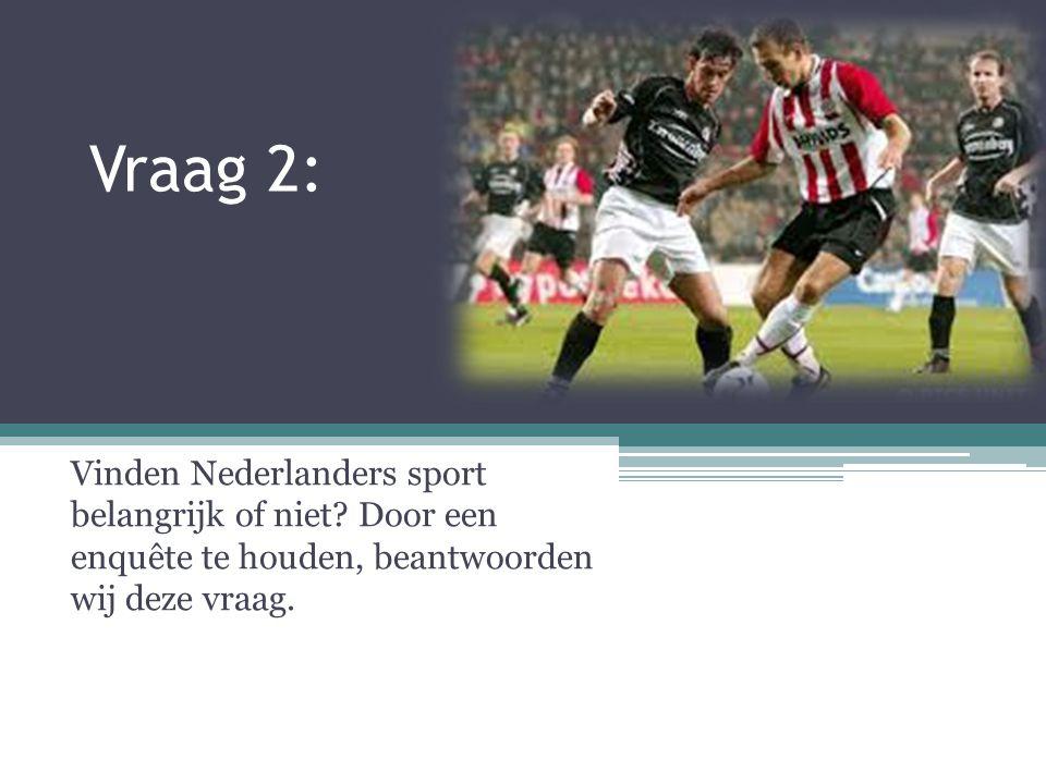 Vraag 2: Vinden Nederlanders sport belangrijk of niet? Door een enquête te houden, beantwoorden wij deze vraag.
