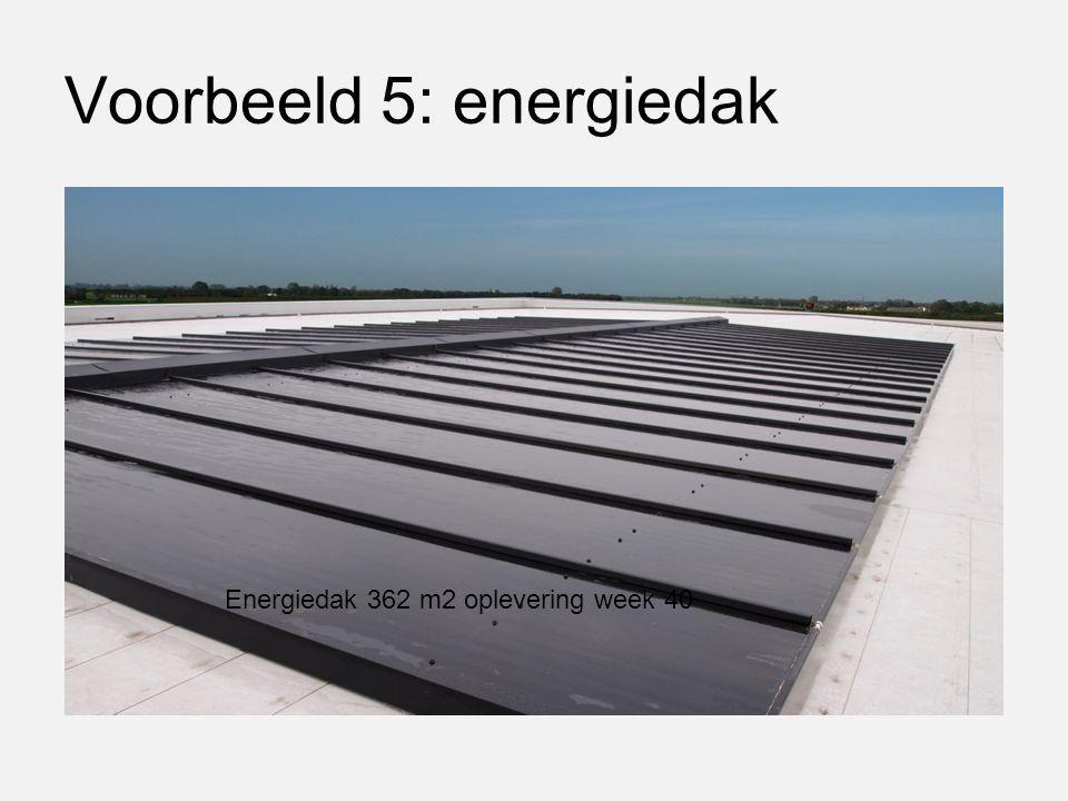 Voorbeeld 5: energiedak Energiedak 362 m2 oplevering week 40