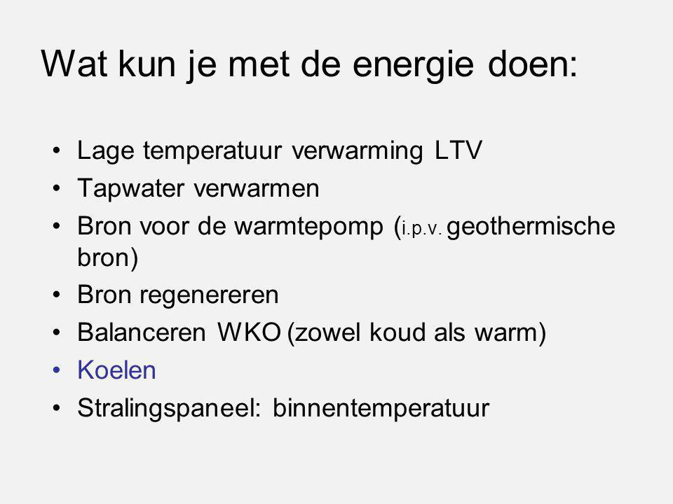 Wat kun je met de energie doen: Lage temperatuur verwarming LTV Tapwater verwarmen Bron voor de warmtepomp ( i.p.v. geothermische bron) Bron regenerer