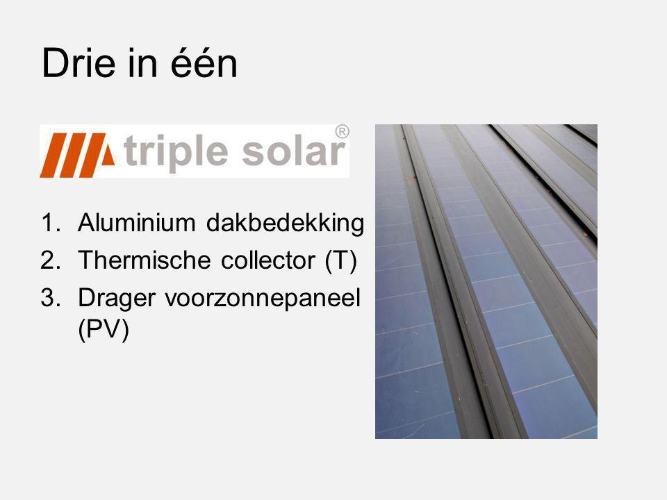 Drie in één 1.Aluminium dakbedekking 2.Thermische collector (T) 3.Drager voorzonnepaneel (PV)